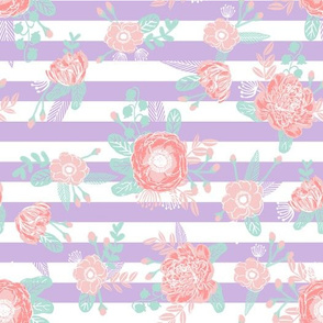 lavender stripes floral fabric baby girl nursery