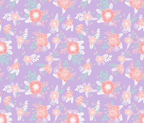 Lavender stripes floral fabric baby girl nursery fabric for Floral nursery fabric