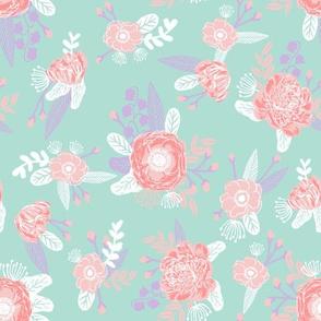 lavender stripes floral fabric baby girl nursery