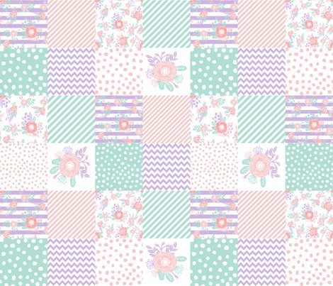 Floral cheater quilt lavender and mint cheater floral for Floral nursery fabric