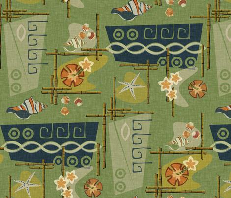 Aloha 1960's - green fabric by thecalvarium on Spoonflower - custom fabric
