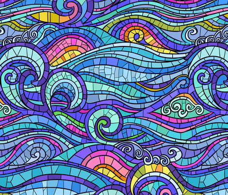 wave and rainbow fabric by torysevas on Spoonflower - custom fabric