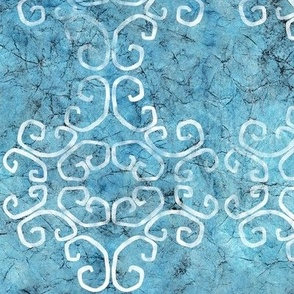 blue batik scroll