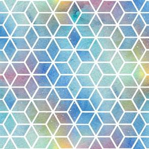 Hexagons - blue rainbow