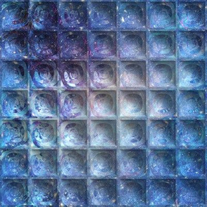 MINI EMBOSSED 3D SQUARES BLUE NEBULA SKY