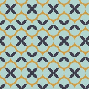 Mustard and Teal Bauhaus Floral