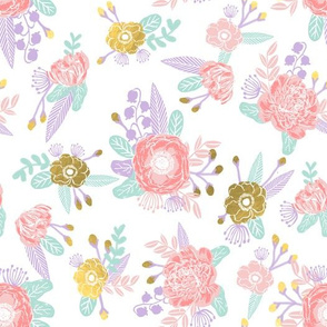 lavender florals gold purple coral pink nursery fabric girls design