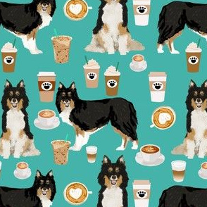 Sheltie shetland sheepdog coffee dog fabric turquoise