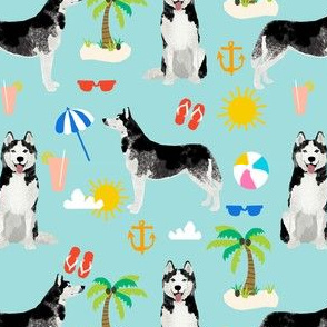 Husky beach summer dog fabric pattern blue tint