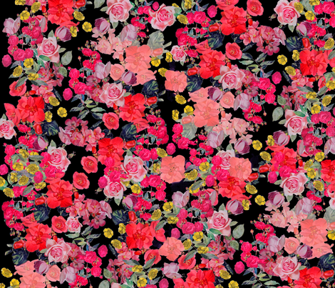 Antique Floral LARGE print // Black fabric by theartwerks on Spoonflower - custom fabric