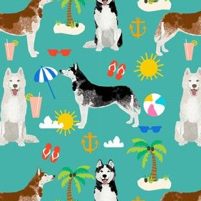 Husky beach summer dog fabric pattern turquoise