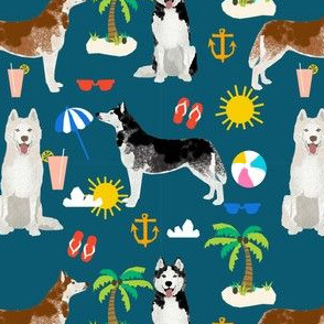 Husky beach summer dog fabric pattern