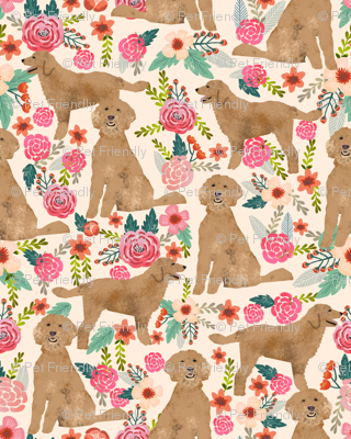 Golden Doodle floral flowers dog fabric pattern light