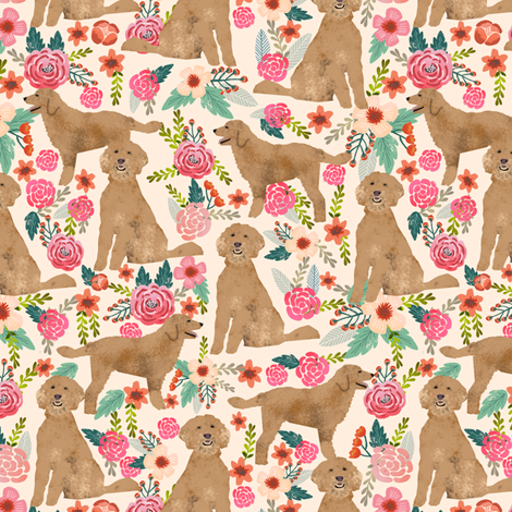 Golden Doodle floral flowers dog fabric pattern light fabric by petfriendly on Spoonflower - custom fabric