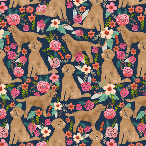 Golden Doodle floral flowers dog fabric pattern dark fabric by petfriendly on Spoonflower - custom fabric
