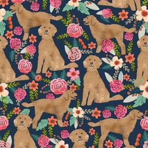 Golden Doodle floral flowers dog fabric pattern dark