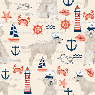 Golden Doodle nautical dog fabric pattern light