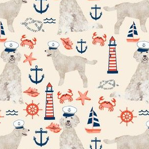 Golden Doodle nautical dog fabric pattern light