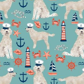 Golden Doodle nautical dog fabric pattern light blue