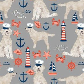 Golden Doodle nautical dog fabric pattern grey