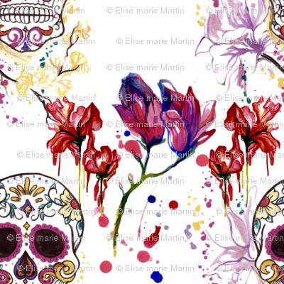 Sugar Skulls and Sureal Flowers