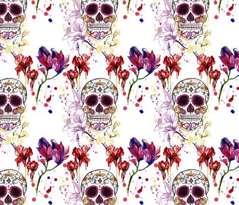 Sugar Skulls and Sureal Flowers fabric by elise_marie_textiles on Spoonflower - custom fabric