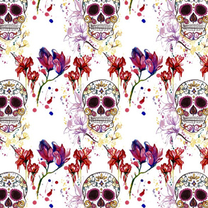 Sugar Skulls and Sureal Flowers