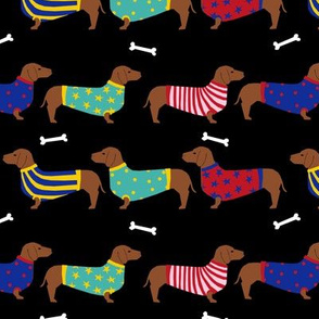 dachshund dog fabric  dogs in sweaters fabric doxie dog design - black
