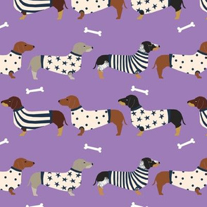 dachshund dog fabric  dogs in sweaters fabric doxie dog design - purple