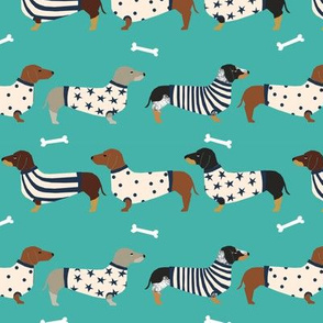 dachshund dog fabric  dogs in sweaters fabric doxie dog design - turquoise