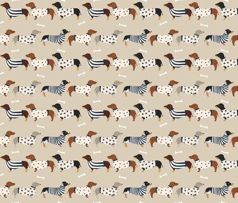 dachshund dog fabric  dogs in sweaters fabric doxie dog design - tan fabric by petfriendly on Spoonflower - custom fabric
