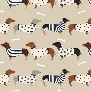 dachshund dog fabric  dogs in sweaters fabric doxie dog design - tan