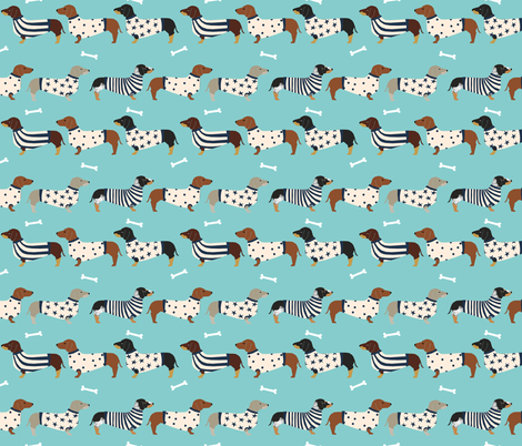 dachshund dog fabric  dogs in sweaters fabric doxie dog design - blue tint fabric by petfriendly on Spoonflower - custom fabric