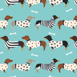 dachshund dog fabric  dogs in sweaters fabric doxie dog design - blue tint