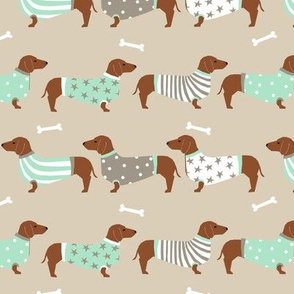dachshund dog fabric  dogs in sweaters fabric doxie dog design - sand