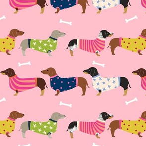dachshund dog fabric  dogs in sweaters fabric doxie dog design - pink