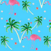 Flamingo and Palm tree floral