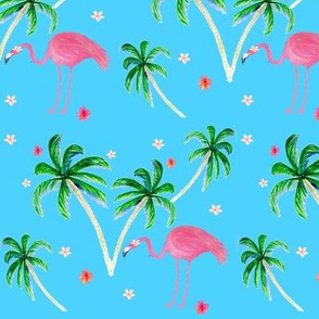 Pink Flamingo and Palm tree floral
