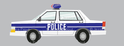 police car fabric - light grey