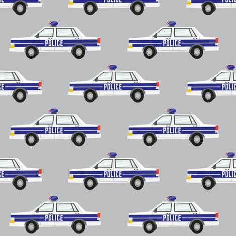 police car fabric - light grey fabric by littlearrowdesign on Spoonflower - custom fabric