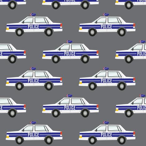 police car fabric - dark grey fabric by littlearrowdesign on Spoonflower - custom fabric