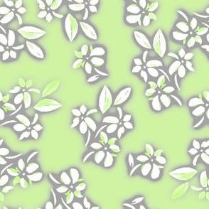 Six Petal Floral in Green