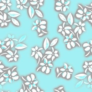 Six petal floral in blue