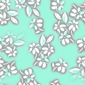 Six Petal Floral in Aqua