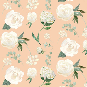White Floral on Peach