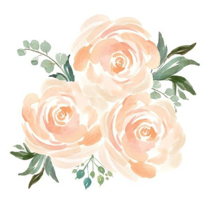 Peach Watercolor FLoral Bunch