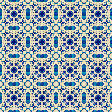Blue Antiqued Shrimpy Doodles fabric by palifino on Spoonflower - custom fabric