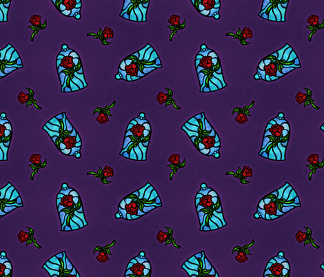 Stained Glass Roses fabric by elladorine on Spoonflower - custom fabric