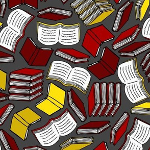 So Many Books... (Red and Gold)