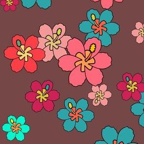 Retro hibiscus tropical floral